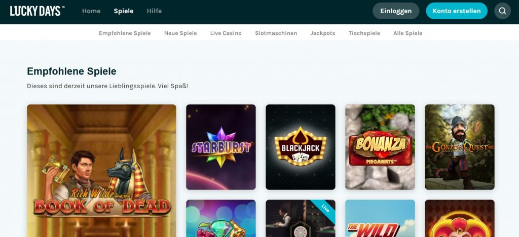 Vorstellung Lucky Days Casino